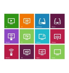 Tv icons on color background vector