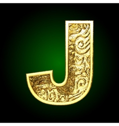 Golden cutted figure j vector