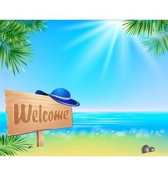 Summer seaside view poster vector