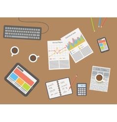 Workplace office desk vector