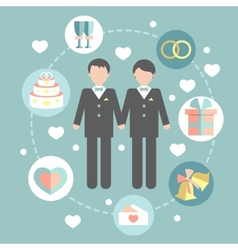 Happy gay couple in wedding attire and casual vector
