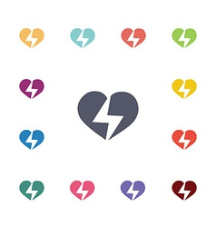 Heart lightning flat icons set vector
