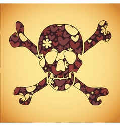 Skull with colorful flowers and hearts vector