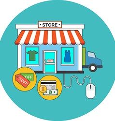 Web store online shop concept flat design icon in vector