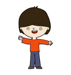 Comic cartoon happy boy vector