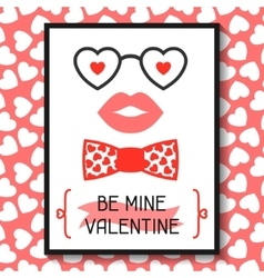 Happy valentines day greeting card Hipster vector image