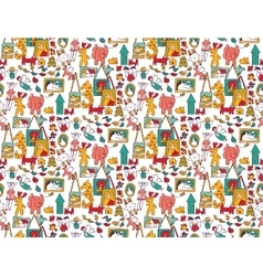 Art hand made objects toys color seamless pattern vector