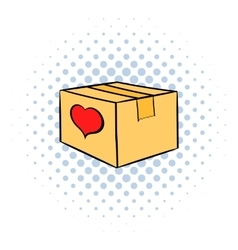 Cardboard box with heart icon comics style vector