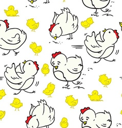 Cartoon chicken pattern vector