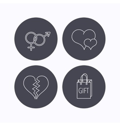 Love heart gift bag and male with female icons vector
