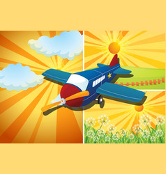 Airplane flying and three different scenes vector