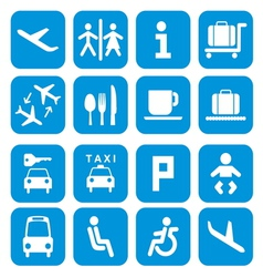 Airport icons - pictogram set vector image vector image
