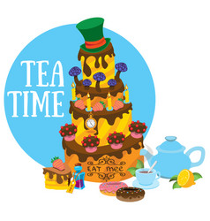 big cake and pastries tea party refreshments to vector image