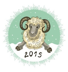 Card with ram on grey-green background symbol of vector