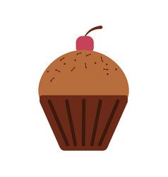 Chocolate cupcake icon vector