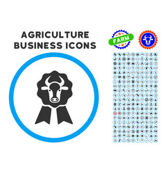 Cow award seal rounded icon with set vector