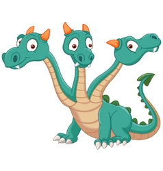 Cute three headed dragon vector