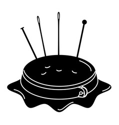 Embroidery drum with pins and needles vector