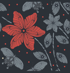endless pattern with butterflies and flowers vector image