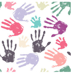 family handprint seamless pattern vector image