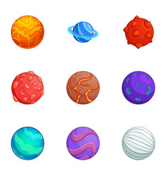 Fantasy colorful planets icons set cartoon style vector