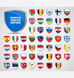 Flags of the countries of the european continent vector