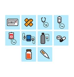 Flat color medical icon set vector