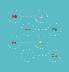 flat icons jeep automotive lorry and other vector image