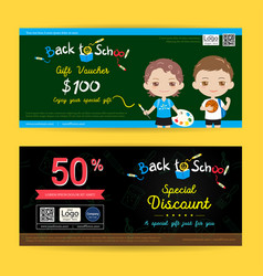 Gift voucher or gift coupon for back to school vector