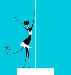 Graceful cat dancing for your design vector image