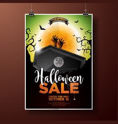 Hallowen sale with coffin zombie hand bats monn vector