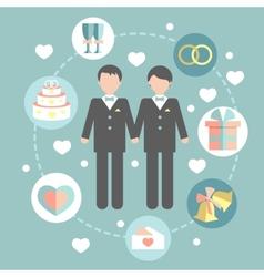 Happy gay couple in wedding attire and casual vector