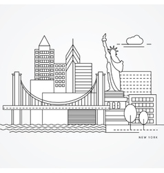 Linear of New York US Flat one line vector image vector image