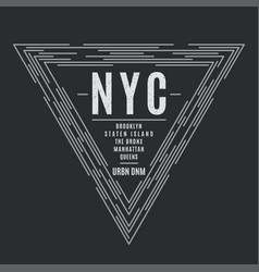 New york tee print with the boroughs names vector