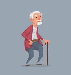 old man is standing with a cane vector image