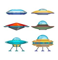 Set of cartoon funny aliens spaceships vector