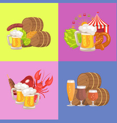 sets of beer symbolic pics vector image vector image