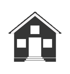 Silhouette with monochrome house one floor vector