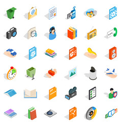 Video observation icons set isometric style vector