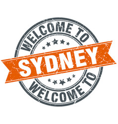 Welcome to sydney orange round ribbon stamp vector