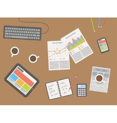 Workplace office desk vector