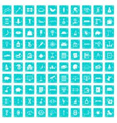 100 balance icons set grunge blue vector