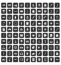 100 creative idea icons set black vector