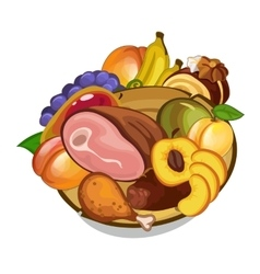 Set of meat and fruits on plate vector