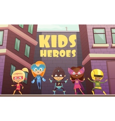 Kids superheroes cartoon vector