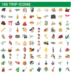 100 trip icons set cartoon style vector