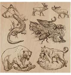 animals in action predators - an hand drawn vector image