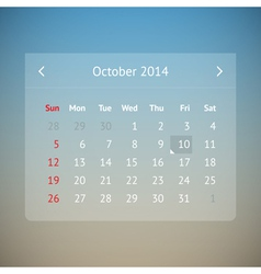 Calendar page for october 2014 vector