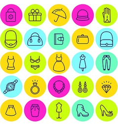 Set of icons womens clothing and accessories vector