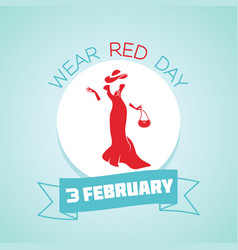 3 february wear red day vector image vector image